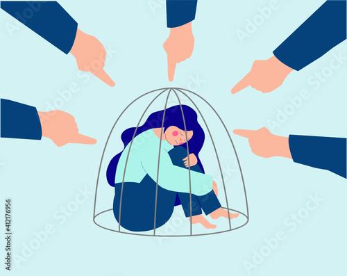 Fotografia Flat character of an ashamed girl inside a cage