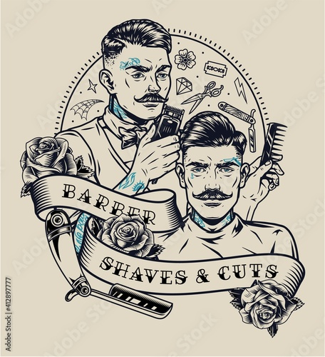 Obraz na płótnie Barbershop vintage monochrome label