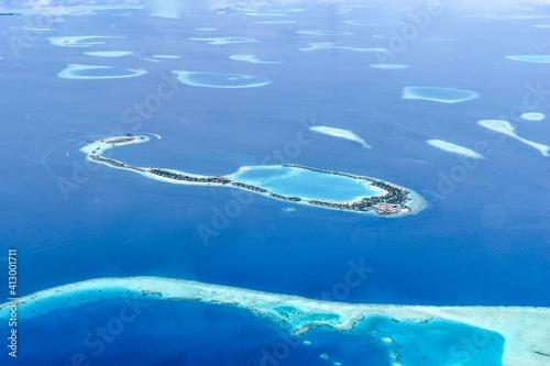 Stampa su Tela High Angle View Of Maledives Atoll