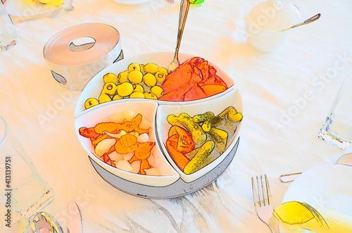 Kolorowe jarzyny na talerzu.