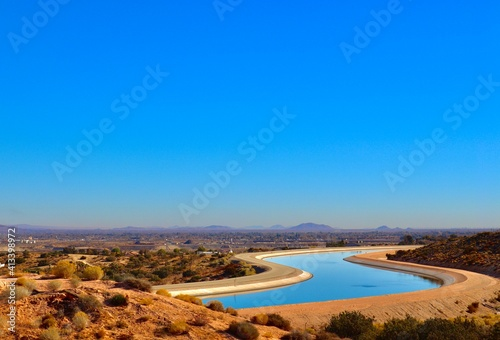 Fotografiet California aqueduct in the desert city Palmdale