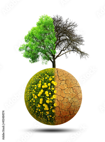 Lush and dry planet with tree isolated on a white background Fototapeta