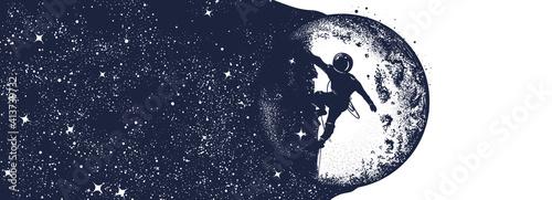 Fotografia Astronaut, moon and night sky