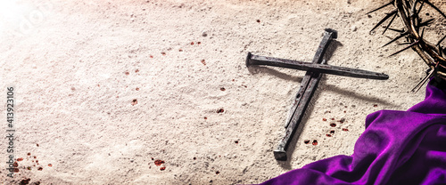 Leinwand Poster Three Nails In Shape Of Cross With Purple Robe, Crown Of Thorns And Blood Drops