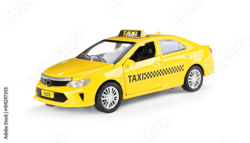 Canvas Yellow taxi car with roof sign on white background