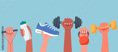 Stampa su Tela Sport exercise web banner concept, human hands holding training equipment such a