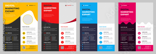 Fotografia Corporate business flyer template design set with blue, magenta, red and yellow color