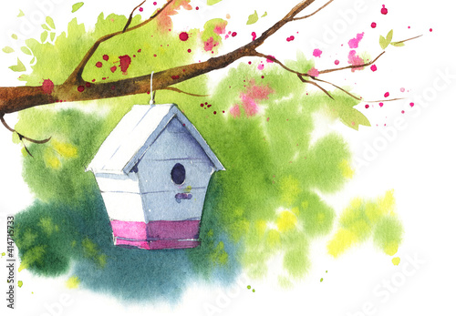 Photo Wooden white birdhouse on a blooming tree branch, spring watercolor illustration