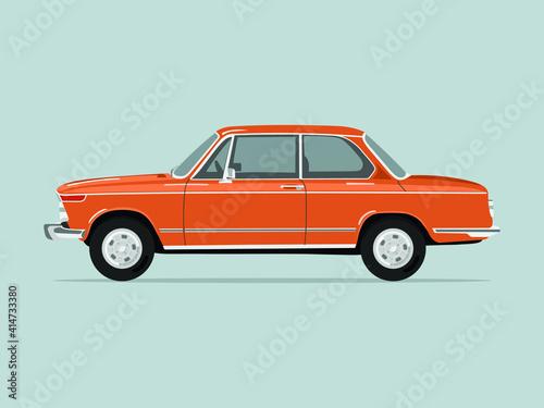 Photo Classic orange car. German car. Flat vector illustration.