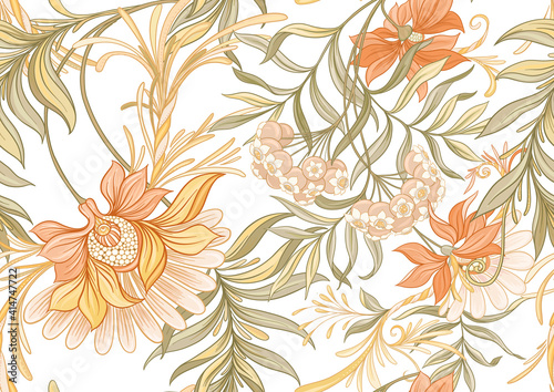 Foto Seamless pattern, background with decorative flowers in art nouveau style, vintage, old, retro style