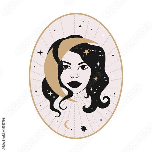 Canvas Print Celestial woman vector illustration with moon and stars
