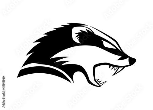 Fotografija Black icon angry badger on white background.