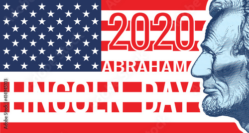Photo 2020 Lincoln day vintage banner background