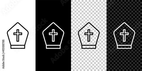 Set line Pope hat icon isolated on black and white,transparent background Fototapeta