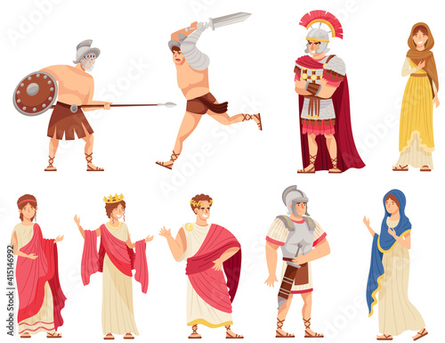 Fototapeta Romans Man and Woman in Traditional Ethnic Clothing with Warrior and Emperor Vec
