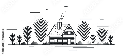 Obraz na płótnie Cabin in woods pine forest linear vector nature illustration isolated on white, log cabin cottage for rest, holidays and vacations theme line art drawing, beauty in nature, woodhouse resort