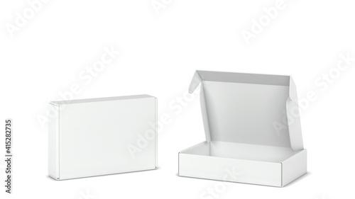 Foto Blank tuck in flap packaging box mockup