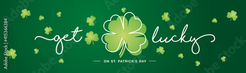Foto Get Lucky on St Patrick's Day white handwritten typography lettering line design