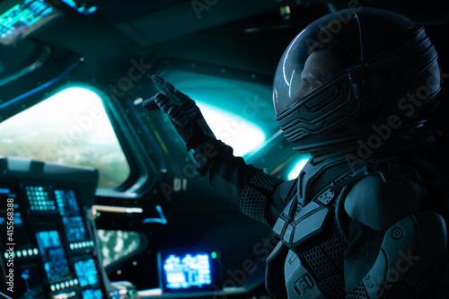 Cuadros en Lienzo Portrait of Caucasian male astronaut inside spaceship cockpit