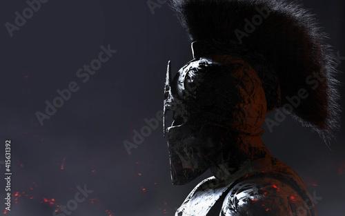 Obraz na plátně 3d render illustration of stone spartan warrior in helmet statue on dark background
