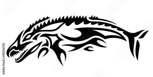 фотография Tribal tattoo art with black stylized mosasaurus