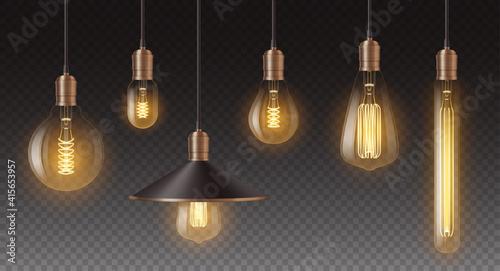 Fotografia, Obraz Realistic retro light bulbs set
