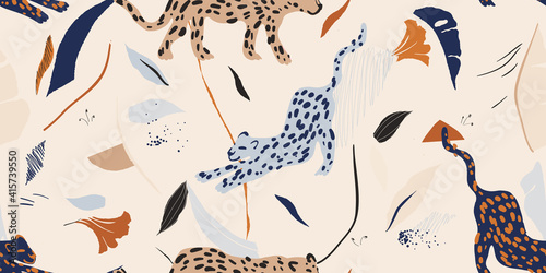 Hand drawn abstract collage pattern with leopards. Contemporary seamless pattern. Fashionable template for design.