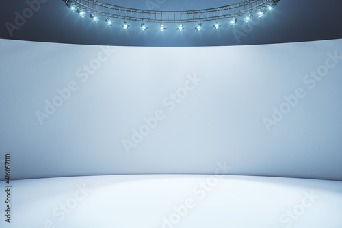 Blank light wall and white floor in empty hall room with led light on top Fototapeta