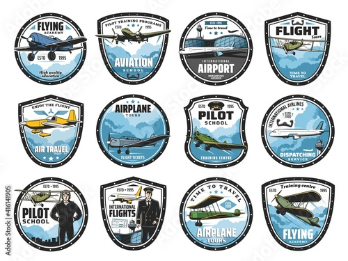 Canvas Flying academy, airplane tour and airline flight icons set