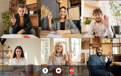 Team working by group video call share ideas brainstorming use video conference Fotobehang