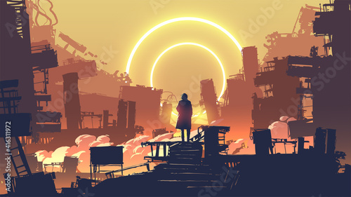 man in the dystopian city standing on building looking at the distant light circles, vector illustration