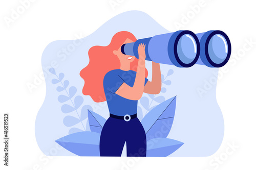 Happy woman holding huge tourists binocular and looking far ahead. Vector illustration for observation, discovery, future concept