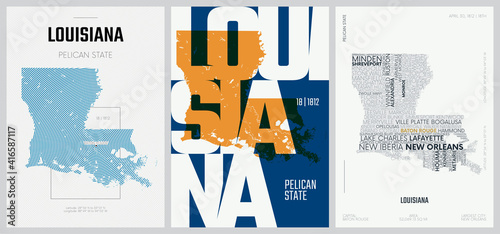 Fotografie, Obraz 18 of 50 sets, US State Posters with name and Information in 3 Design Styles, De