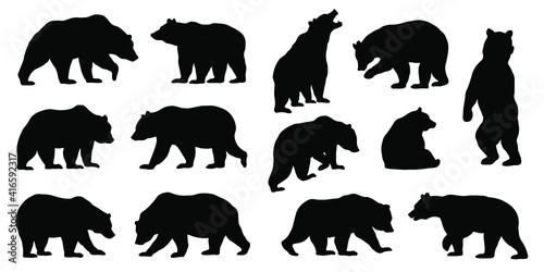 Fotografia various bear silhouettes on the white background