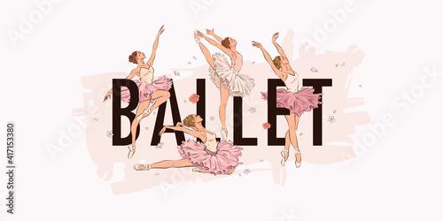 Ballet school dance studio landing web page, concept banner design template Fototapet