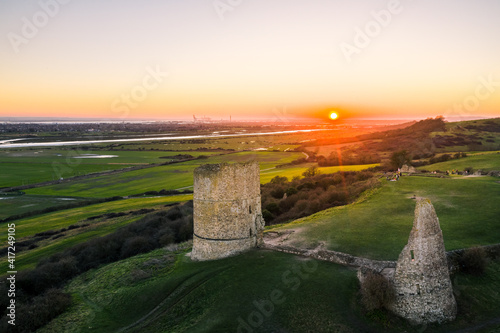 Obraz na plátně Hadleigh castle in Essex stunning sunset drone view in United Kingdom