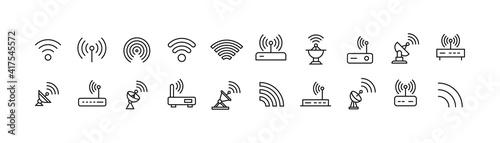 Photo Set of simple wireless line icon