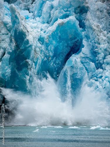 Slika na platnu USA, Alaska, Tracy Arm-Fords Terror Wilderness, Massive iceberg calving from fac