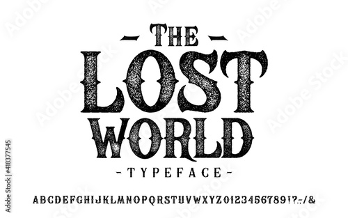Font The Lost World. Craft retro vintage typeface