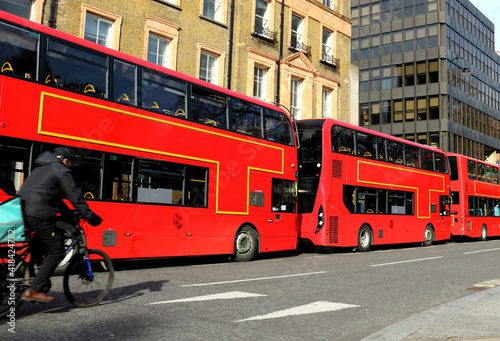 city red bus in line in london ,Russel square region фототапет