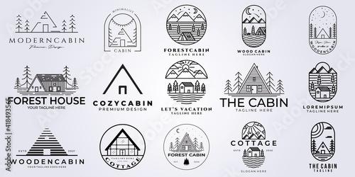 set bundle cabin logo vector illustration design, line art style Fototapeta