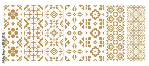 Photographie Set arabic oriental ornamental floral geometric arabesque seamless pattern