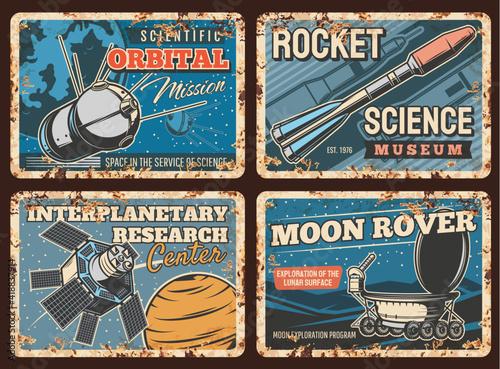 Space rockets, planets exploration metal rusty plates, vector orbital station Fototapeta