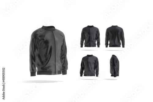 Vászonkép Blank black bomber jacket mock up, different views set