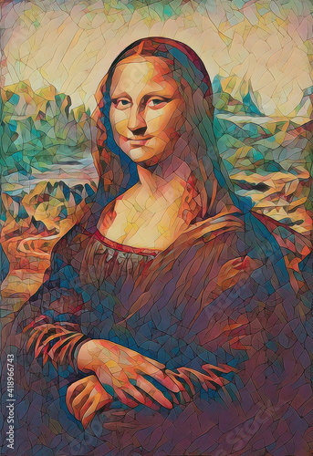 Tablou Canvas My painting reproduction of Mona Lisa by Leonardo da Vinci.