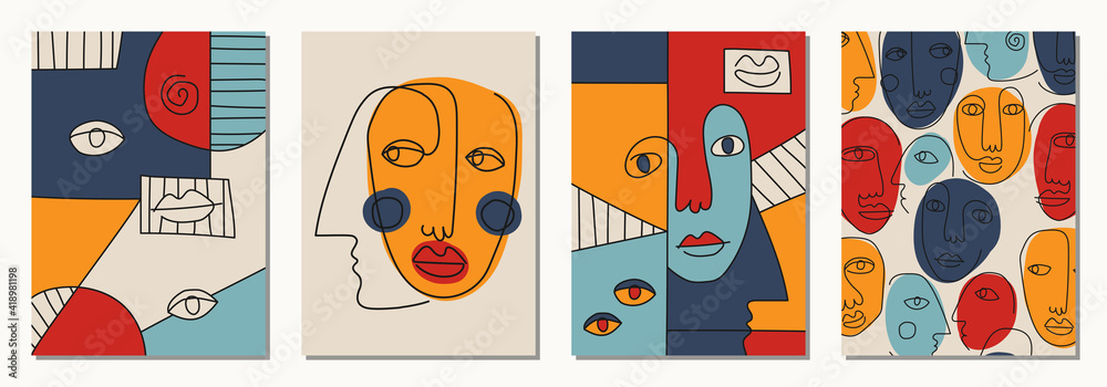 Set of hand drawn surrealistic, abstract faces in line art style, seamless pattern background, modern minimalism art, aesthetic contour - obrazy, fototapety, plakaty