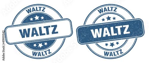 Fotografie, Obraz waltz stamp. waltz label. round grunge sign