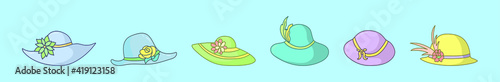 Fotografía set of kentucky derby hats cartoon icon design template with various models