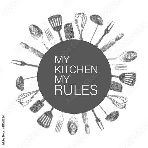 Obraz na plátně Hand drawn typography poster.My kitchen, my rules.