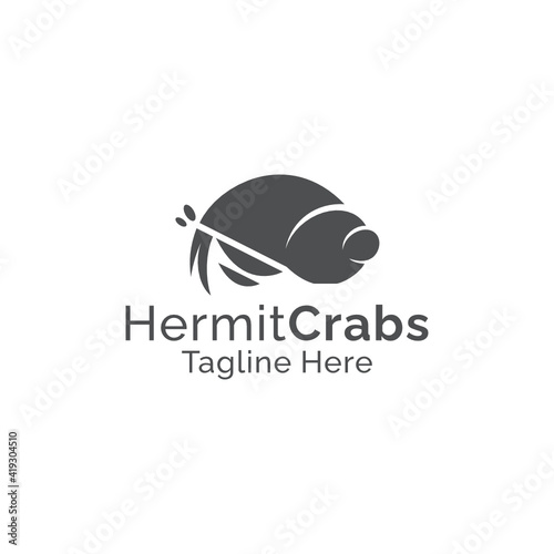 Fotografie, Obraz Simple silhouette hermit crabs logo design